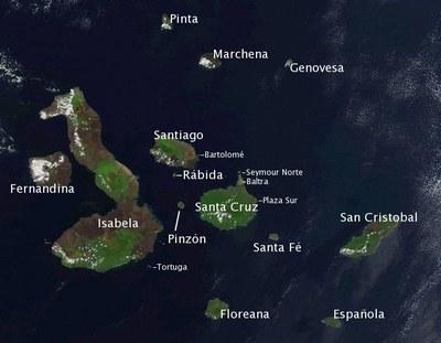 Das Galápagos-Archipel, offizielle Bezeichnung: Archipiélago de Colón