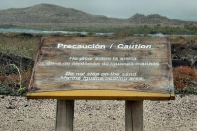 Hinweisschild auf die Nistplätze der Leguane
