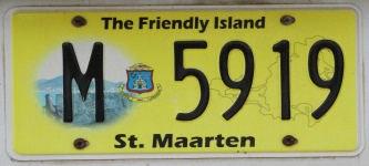 """Nummernschild """"The Friendly Island"""" auf St. Maarten, dem niederlA$?ndischen Teil der Insel Saint-Martin"""